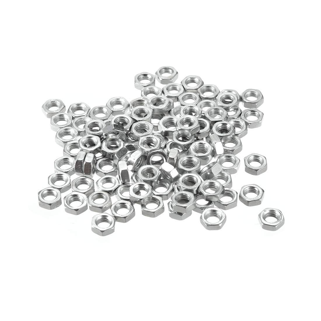 M5x0.8mm Metric Thick Hex Nut Hexagon Nuts 100 Silver Tone Package Carbon Steel