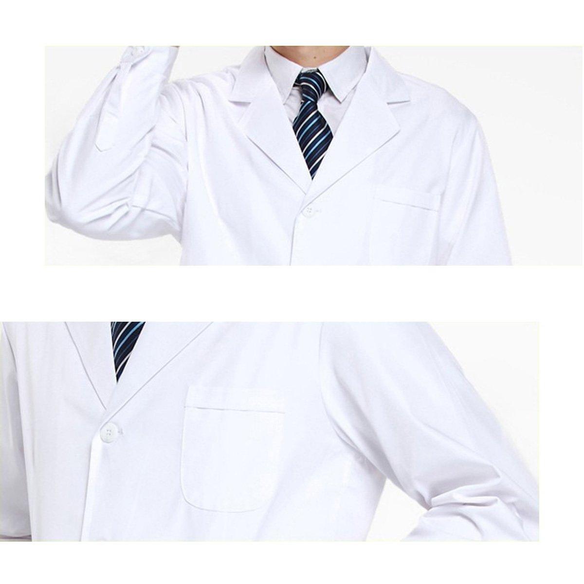 THEE Bata de Laboratorio Blanco Uniforme de Enfermera Sanitaria con Manga Larga Hombre L: Amazon.es: Amazon.es