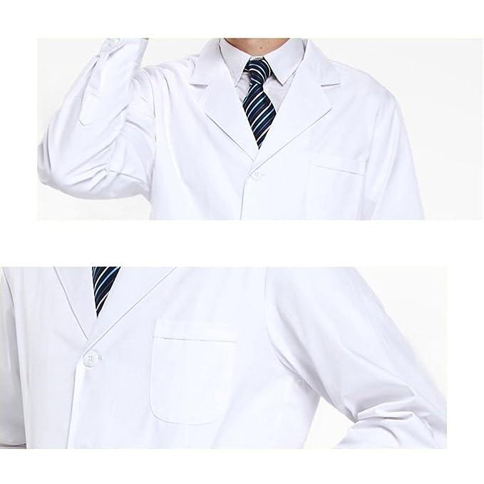 THEE Bata de Laboratorio Blanco Uniforme de Enfermera Sanitaria con Manga Larga Hombre M: Amazon.es: Amazon.es