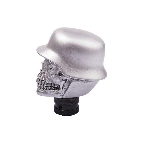 pomello del cambio adatto alla maggior parte dei cambi manuali o automatici senza bloccaggio della retromarcia Skull SMKJ Pomello universale del cambio in alluminio a forma di teschio