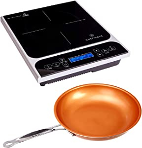 """ChefWave CW-IC01 1800W Portable Induction Countertop Burner - Bonus 10"""" Copper Frying Pan - 20 Power/Temp Settings Digital LCD Touch Kitchen Cooktop Electric Cooker - Energy Efficient, Safety Lock"""