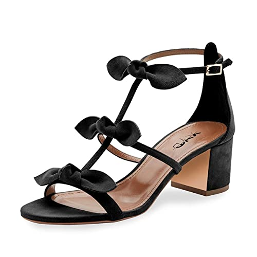 8ad869c1d8 XYD Prom Party Dress Shoes Cute T-Strap Block Heel Gladiator Sandals Open  Toe Bows Pumps for Women