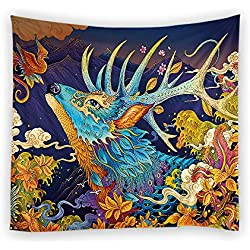 Deer Dragon God Oriental Mystic Japanese Paint Decorative Wall Hanging Tapestry Size 60 80 inches Hippie Art Curtains Drape Table Top Sofa Cover Mandala Picnic Beach Throw Ethnic home Decor Bed Spread