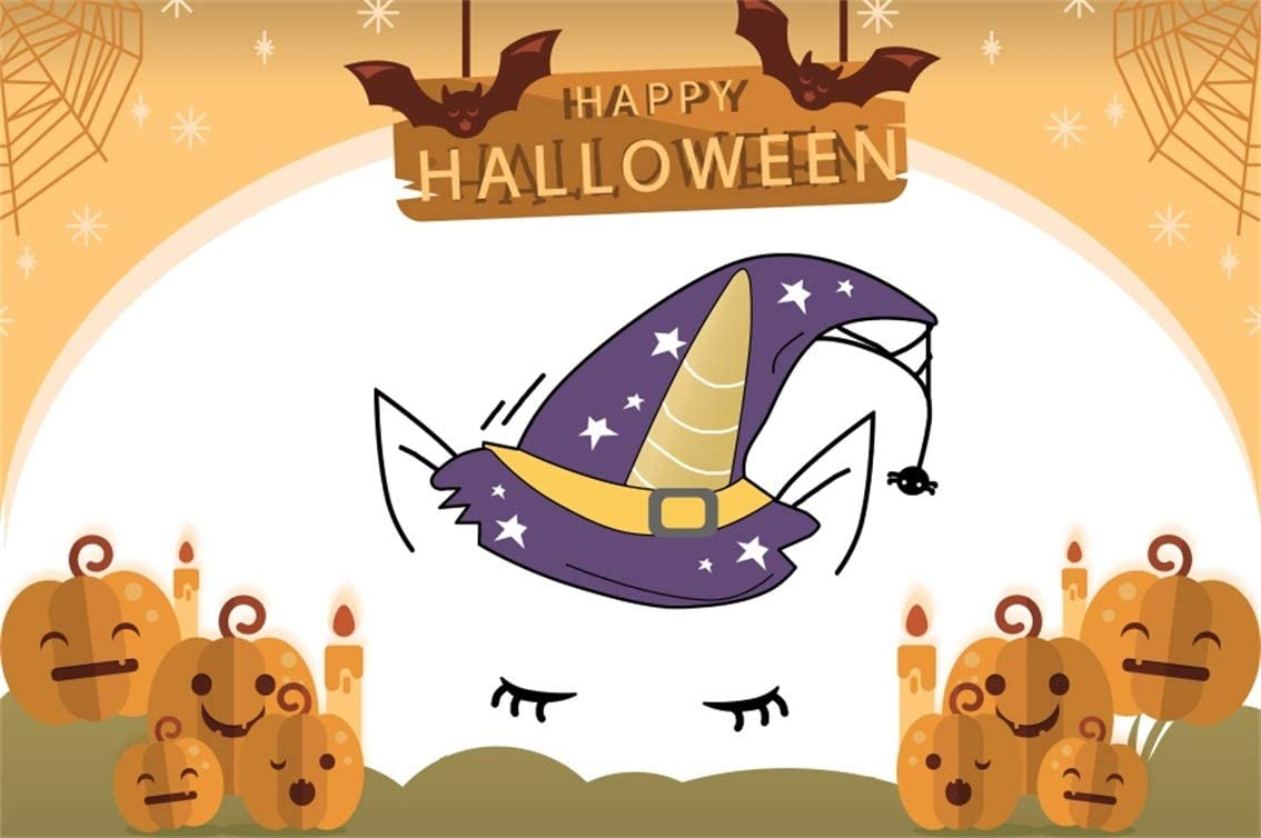 Leyiyi 5x3ft Cartoon Happy Halloween Backdrop Witch Hat Unicorn Eyelash Bats Flying Full Moon Spiderweb Pumpkin Lanterns Photography Background Scary Carnival Night Photo Studio Prop Vinyl Wallpaper