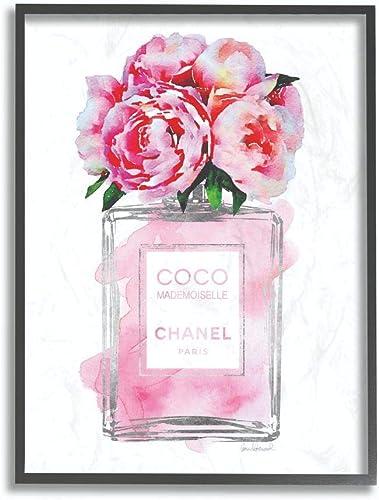Stupell Industries Glam Perfume Bottle V2 Flower Silver Pink Peony Black Framed Wall Art