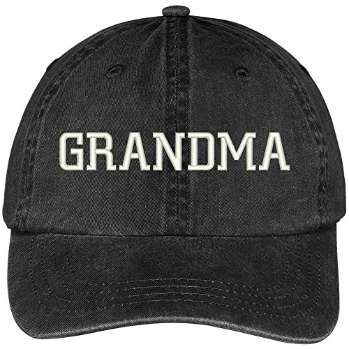 Trendy Apparel Shop Grandma Embroidered Pigment Dyed Low Profile Cotton Cap - Black