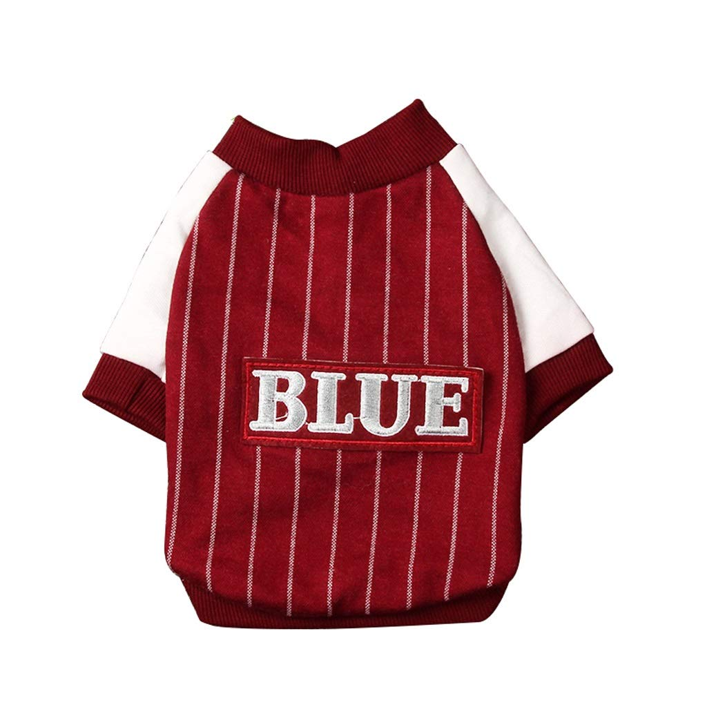 Red L Red L LSLMCS Pet Supplies Dog Clothes Baseball Clothing Teddy Dog Vest Jacket Clothes Puppies Than Xiong Bomei Clothing, bluee, Red (S-XXL) (color   Red, Size   L)