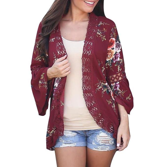 Vovotrade Mujer Encaje Floral Abierto capa Casual Capa Suelto Blusa japonés kimono Chaqueta Cárdigan (S