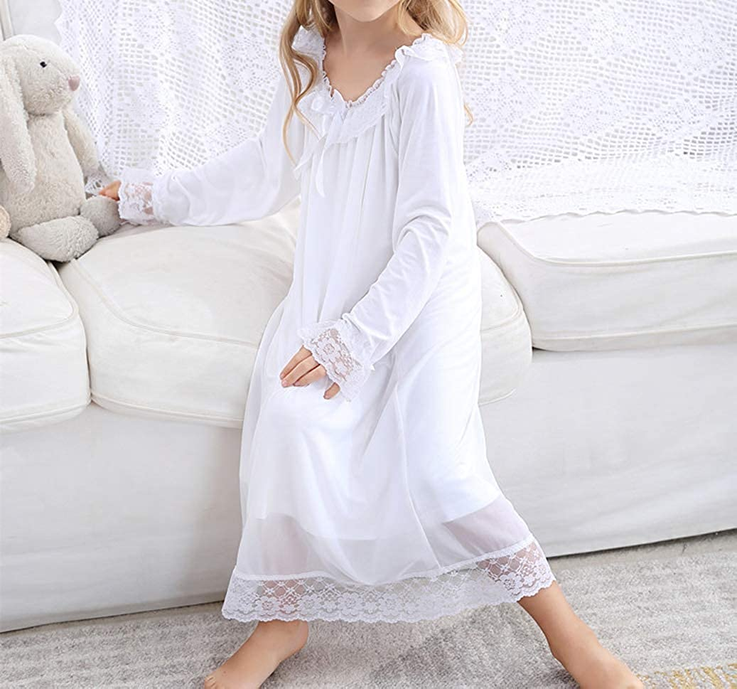 CHUNG Toddler Little Big Girls White Modal Soft Nightgowns Princess Long Sleep Dress 3-10Y