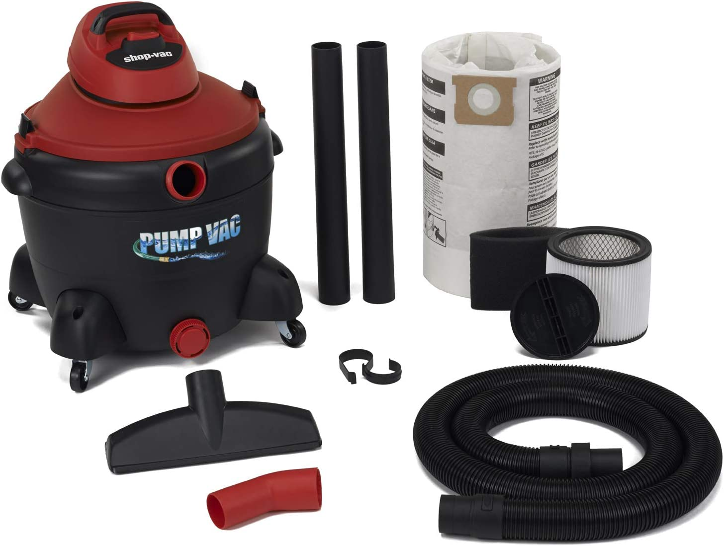 Shop Vac 5821600 16 Gal 6.0 PHP Wet Dry Vacuum with built in Pump will pump out with garden hose. Uses Type U Cartridge, Type R Foam plus Type G Filter Bag