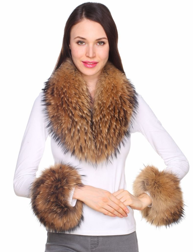 Ferand Women's Real Raccoon Fur Collar Scarf with 2 Matching Cuffs for Parka Jacket Winter Coat in Dark Natural Color,31.5 inch