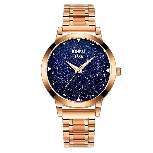 Reloj de cristal de cuarzo de las mujeres,Impermeable Acero inoxidable Starlight Moda Casual Relojes de vestir para damas-A: Amazon.es: Relojes