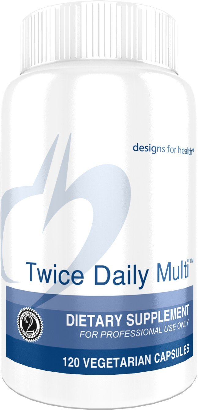 Designs for Health - Twice Daily Multi - 120 Capsules, Iron Free Multivitamin with Active Folate + Chelated Minerals