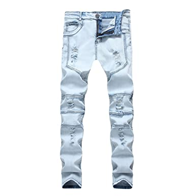 42b8d00af112 Geurzc Stretch Ripped Distressed Skinny Jeans for Men at Amazon ...