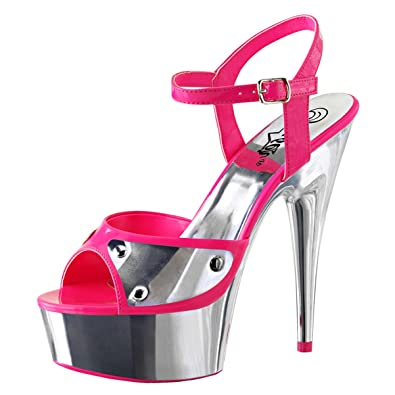 4df42ce747014 Summitfashions Womens Hot Pink Shoes Silver Platform Sandals Blacklight  Open Toe 6 Inch Heels