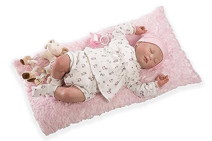 Munecas Guca Muñeca 547 Reborn Yolanda, muñeca de bebé recién Nacido, con Almohada de Color Rosado, de 46 cm