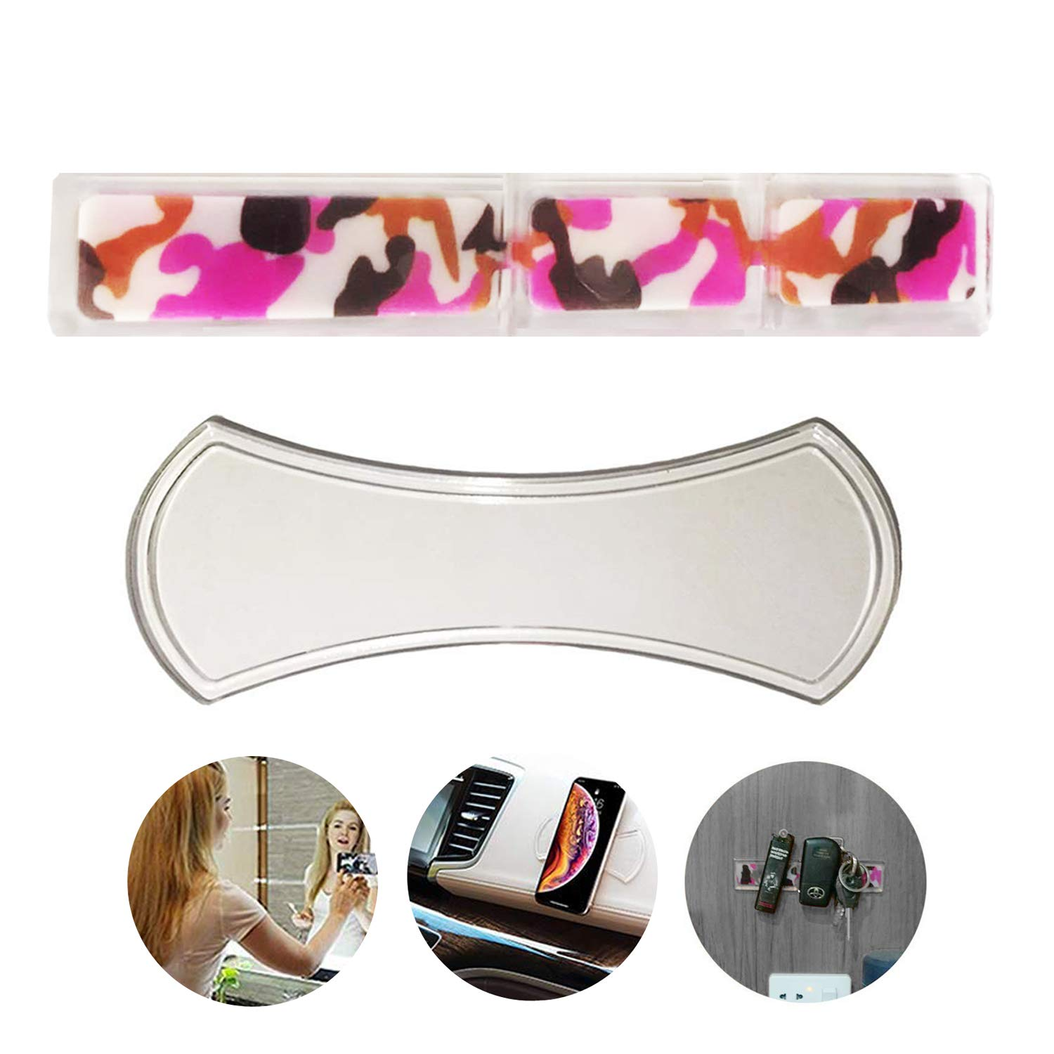 DREAM LIFE 4351483934 BASEEING Sticky Gel Pads Multi Function Magic Anti-Slip Nano Rubber Gel Pads Use at Car Office House or as Mobile Phone Holder Car Kits Bracket Pods Mat Stick to Anywhere Doughnut 2 Pcs Set