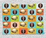asddcdfdd Football Tapestry, Colorful Squares Mosaic Pattern with Protective Helmets and Balls College Activity, Wall Hanging for Bedroom Living Room Dorm, 80 W X 60 L Inches, Multicolor