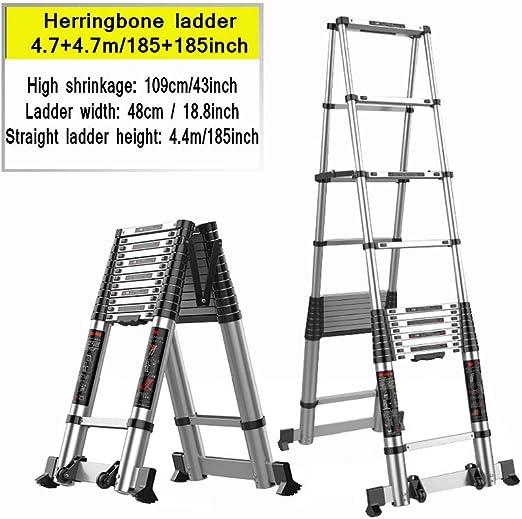 XSJZ Escalera Telescópica de Raspa de Arenque, 4.7 + 4.7m / 185 + 185 Pulgadas Aleación de Aluminio Reforzada Retráctil Plegable En El Sitio de Construcción Escalera de Espiga de Elevación Escalera de: Amazon.es: Hogar