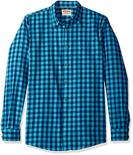 Wrangler Authentics Men's Long Sleeve Premium Gingham Shirt, Limoges, L (Wrangler Pearl Snap)
