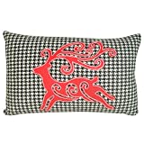 Holiday Houndstooth Reindeer Pillow, 16''