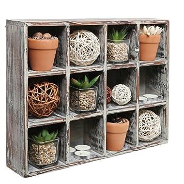 Freestanding Dark Brown Wood Shelf Rack / Wall Mounted 12 Compartment Shadow Box / Display Shelving Unit