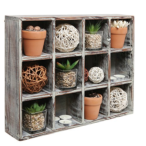Freestanding Dark Brown Wood Shelf Rack / Wall Mounted 12 Compartment Shadow Box / Display Shelving (Wall Cubbies)