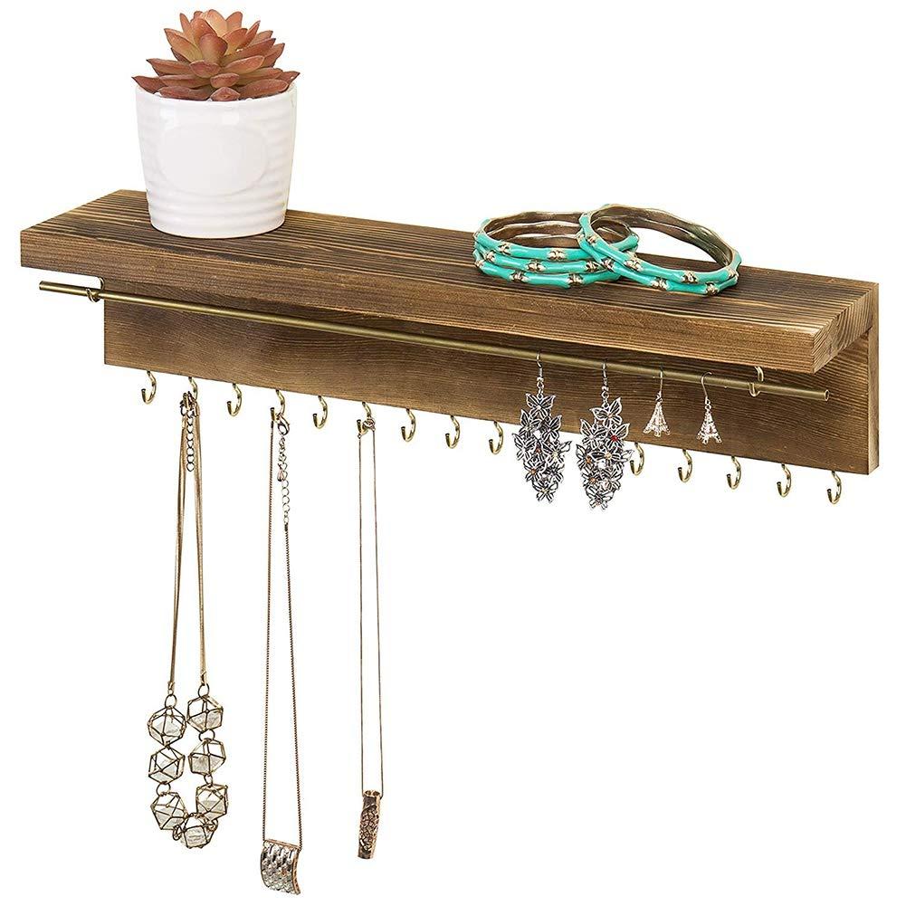 anillos Ganchos de madera r/ústica para colgar en la pared organizador de joyer/ía para pendientes collares pulseras y organizadores 30x5.8x1.2cm Color 1