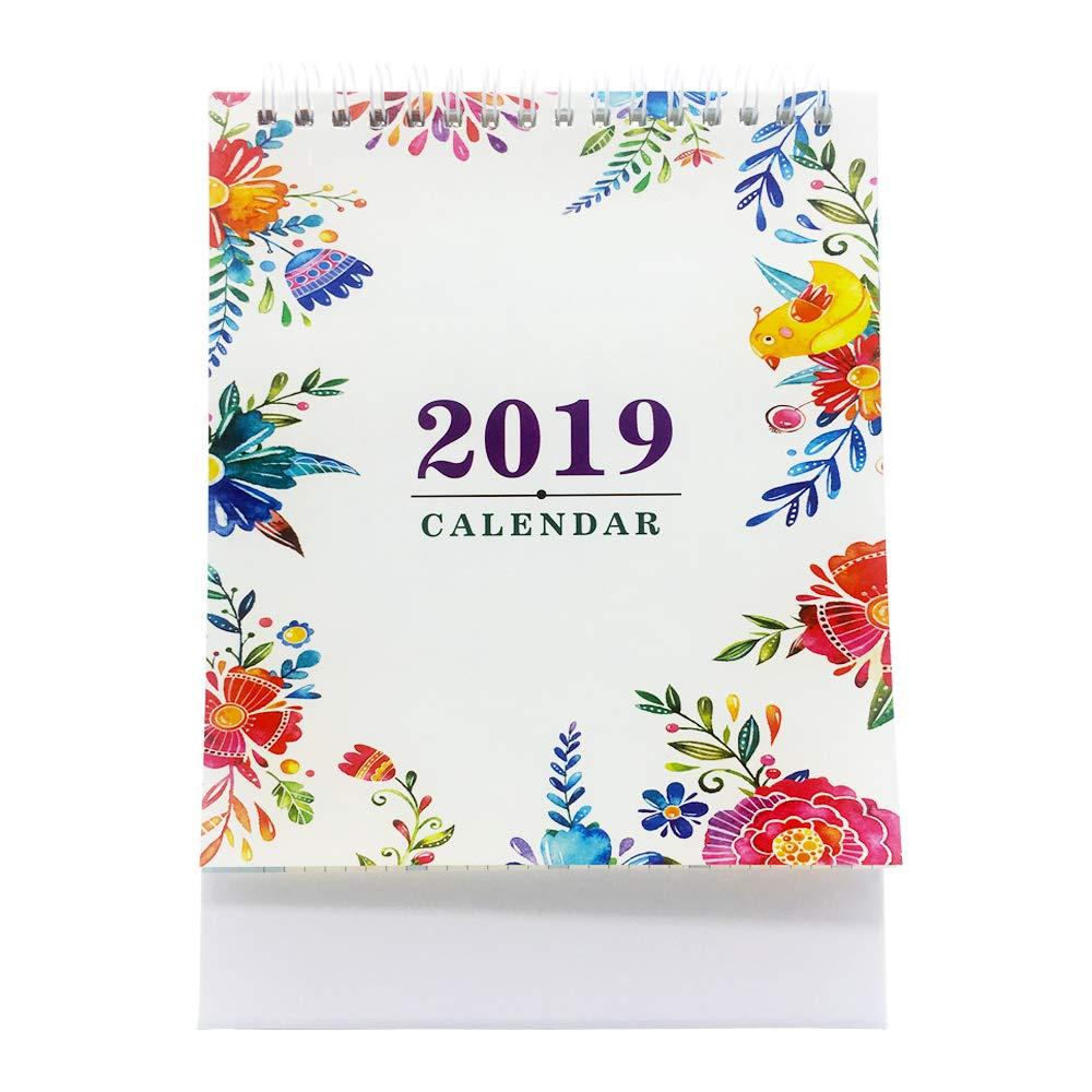 2018-2019 卓上カレンダー 月次フリップ スケジュールカレンダー (2018年7月~2018年12月20日) グリーン  フラワー B07GZL5T4V
