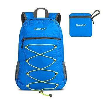 Gonex - Mochila de 25 litros ligera, compacta, práctica y plegable, azul: Amazon.es: Deportes y aire libre