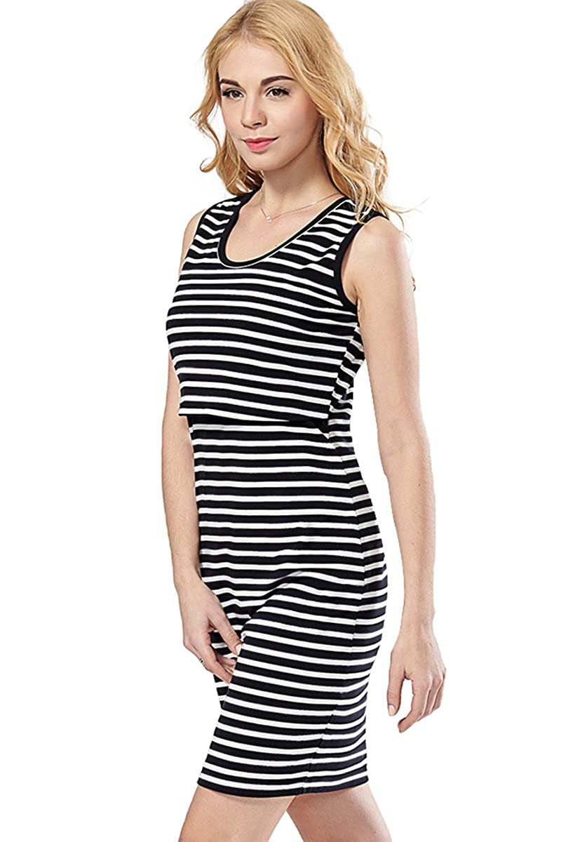 Green Home Women's Striped Short Sleeves Maternity Nursing Dress SB0200