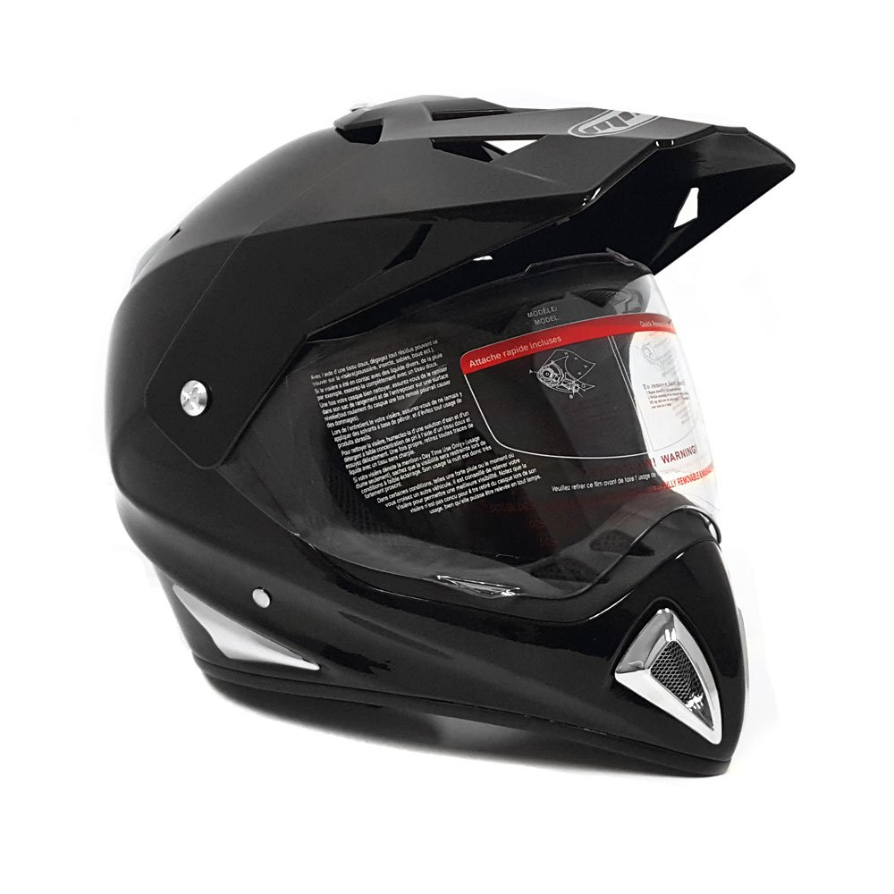 Motocross Full Face Helmet - Dual Sport Off Road Motorcycle Dirt Bike ATV – with Flip Up Visor - 27V (Large - Shiny Black)
