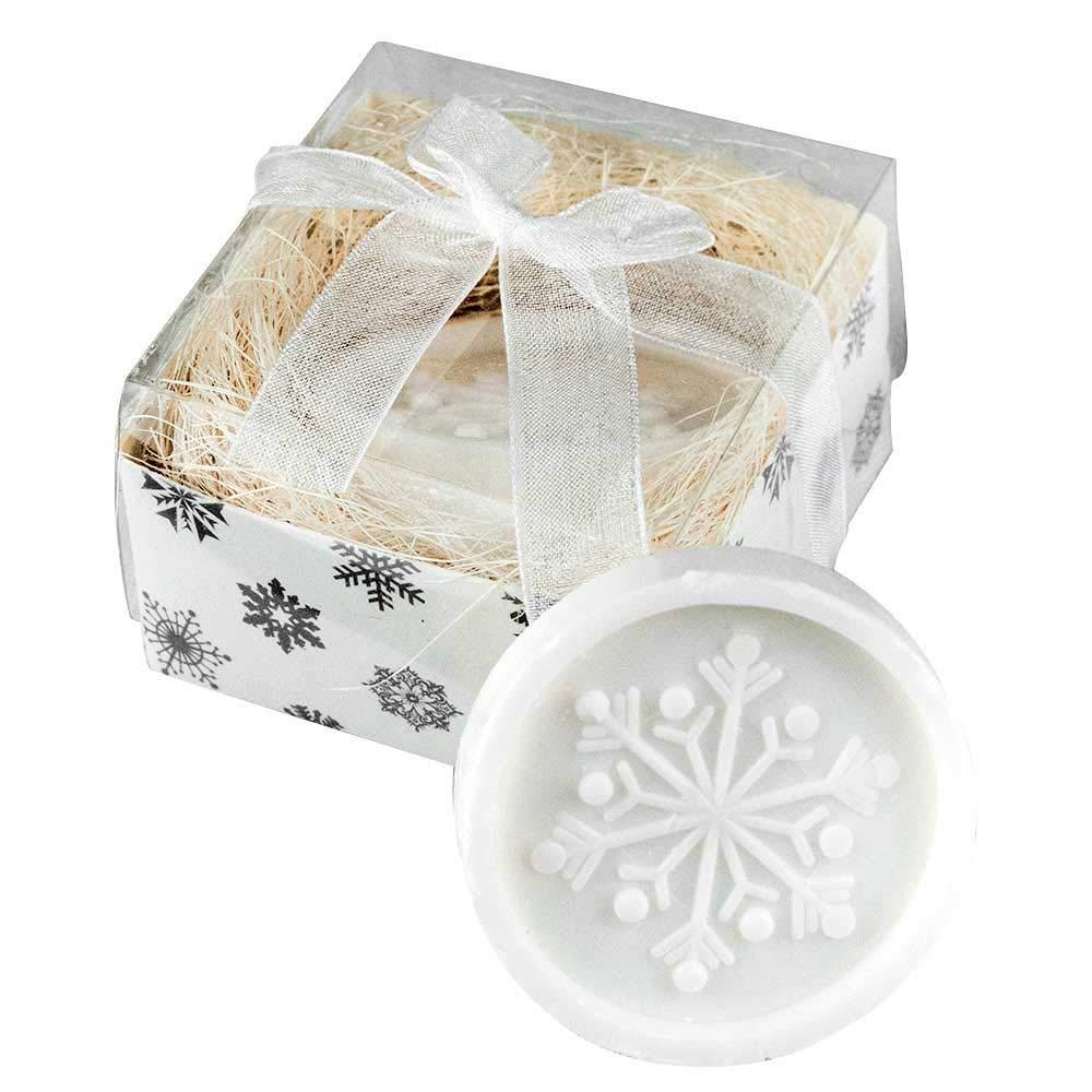 Lote de 50 Unidades Jabón perfumado Copo de Nieve, en Caja cartón con Lazo Organza. Regalo Empresa, Navidad, Detalles navideños: Amazon.es: Hogar