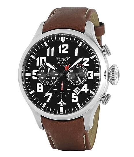 Aviator F Series - Reloj de Pulsera para Hombre con cronógrafo y Correa de Piel, Color marrón: Aviator: Amazon.es: Relojes