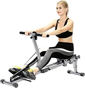 Rowing Machines for Home Use, Indoor Rower Foldable Rowing Machine Fitness Equipment, Adjustable 12 Stage, Hd Data Display, Double Track, Suitable for Home Fitness Exercise