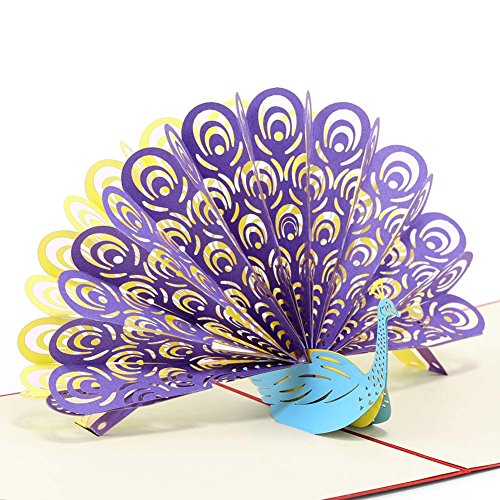 Paper Spiritz Peacock Pop up Cards Birthday for Wife Husband Kids Gift Card and Envelopes - Handmade Thank You 3D Anniversary Wedding Cards ()