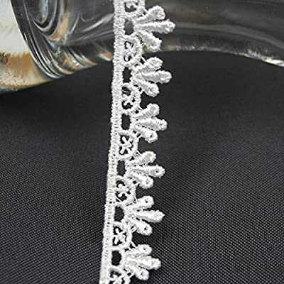 "Ivory Off White 5/8""~5-1/8"" Embroidered Floral Venice Lace Trim Guipure By Yard from Leader Textiles & Garments Co."