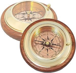Stanley London Engravable Brass and Wood Desk Compass - for Graduation, Retirement, Birthday, Christmas, Anniversary, Men, Women, Him, Her, Husband, Dad, Son, Boyfriend