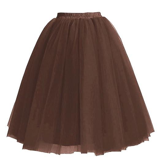 Facent - Falda - Trapecio - para Mujer marrón marrón: Amazon.es ...