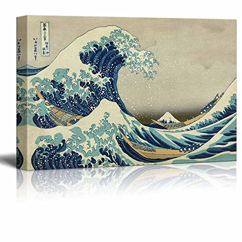 Wll Art The Great Wave off Kanagawa by Japanese Artist Hokusai Thirty six Views of Mount Fuji Series and Stretched