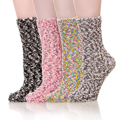 Bright Stripe Fleece (SDBING 4-6 Pairs Fuzzy Cozy Winter Warm Coral Fleece Christmas Socks (4 Pack Bright Velvet))