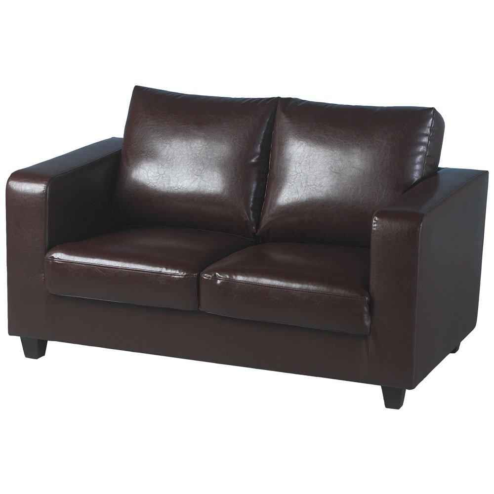 Tempo 2-Sitzer Sofa In-A-Box aus Kunstleder (braun)