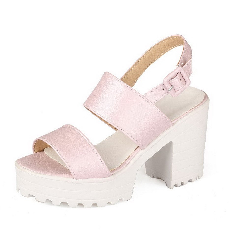WeiPoot Women's PU Solid Buckle Open Toe High-Heels Platforms-Sandals, Pink, 38