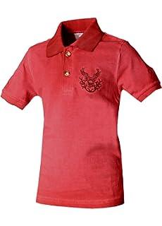 Isar-Trachten Kinder Trachten Poloshirt Trachtenshirt Hohenpolding pink Hirschstickerei Gr/ö/ßen 68-140