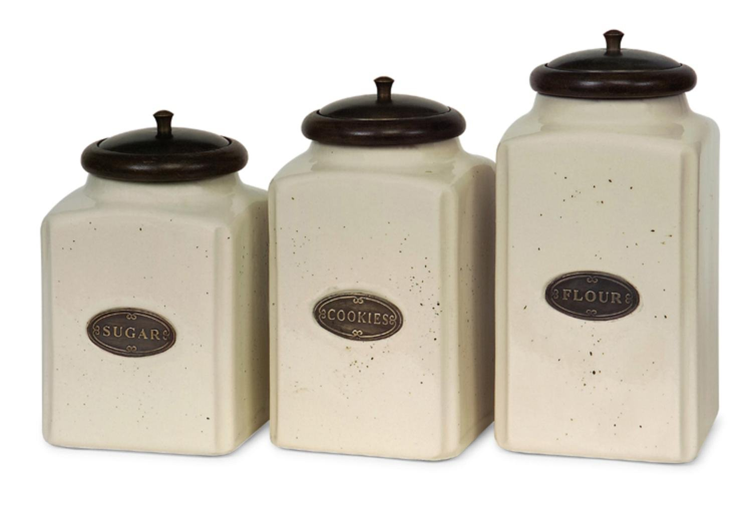 IMAX 5358-3 Ivory Canisters – Set of 3 Kitchen Containers with Mango Wood Lids, Handcrafted, Food Safe Ceramic Canisters. Kitchen Organizing Accessories