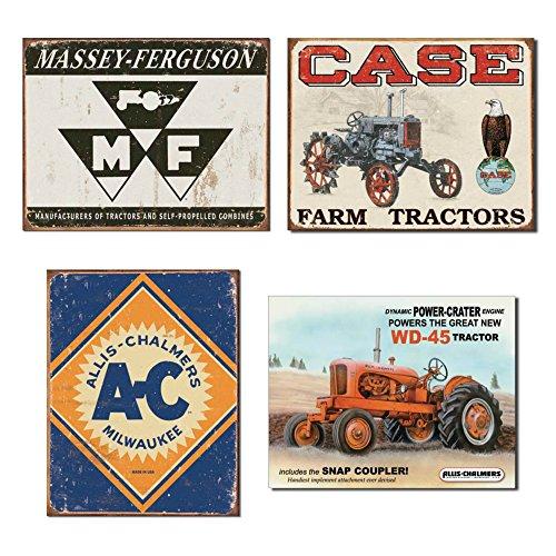 Farm Tractor Tin Sign Bundle - Massey Ferguson Logo, Case Tractor CC High, Allis Chalmers Logo and Allis Chalmers (Farm Tractor Sign)