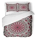 Emvency Bedsure Duvet Cover Set Closure Printed Moroccan Colorful Ethnic Patterned Arabesque Egyptian Abstract Antique Arab Arabian Decorative Breathable Bedding Set With 2 Pillow Shams Twin Size