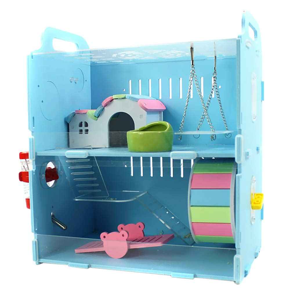 Perfk Hamsterkäfig Nagerkäfig Mäusekäfig mit Trinkflasche Badewanne Haus Laufrad für Hamste, Ratten, Mäuse, Meerschweinchen, Igel