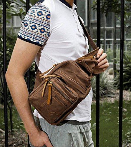 Izacu Nueva Mujer / Hombre Lienzo Vintage y Cuero Senderismo Mochila bolsa de viaje (khaki, 17*6*27CM) coffee