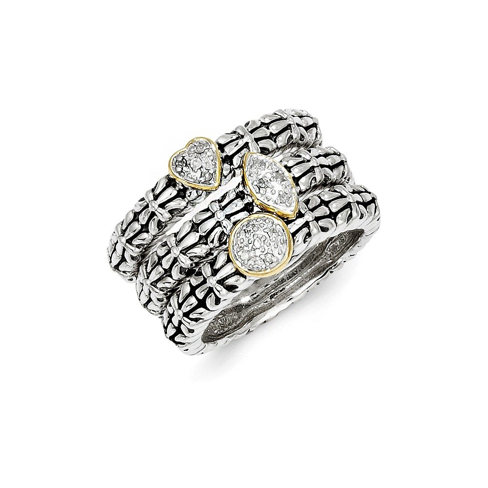 Top 10 Jewelry Gift Sterling Silver w/14k Diamond 3 Stackable Rings